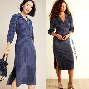 NWT ANTHROPOLOGIE Melina Belted Striped Midi Dress
